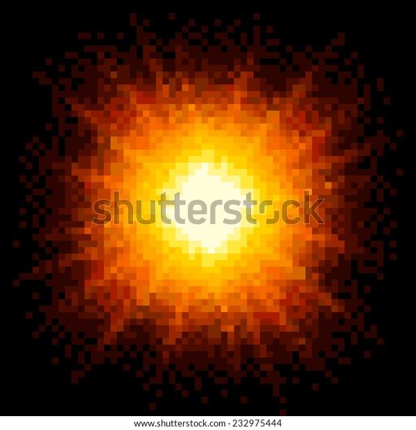 8-bit Pixel Art Fiery Explosion. EPS8 Vector