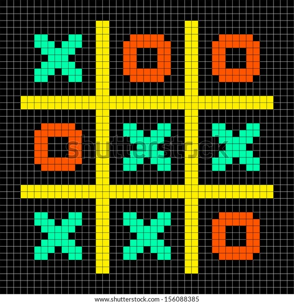 8-bit Pixel Art Noughts and Crosses Game in a Stalemate Draw Position