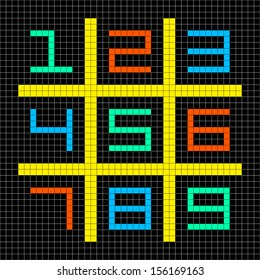 8-bit Pixel Art with Numbers 1-9 in a Sudoku Grid