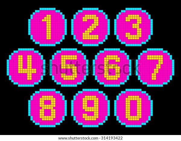 8-Bit Pixel Art Numbers in Circles. EPS8 Vector