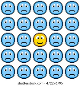 8-bit Pixel Art Sad Faces and One Happy Face Emoji