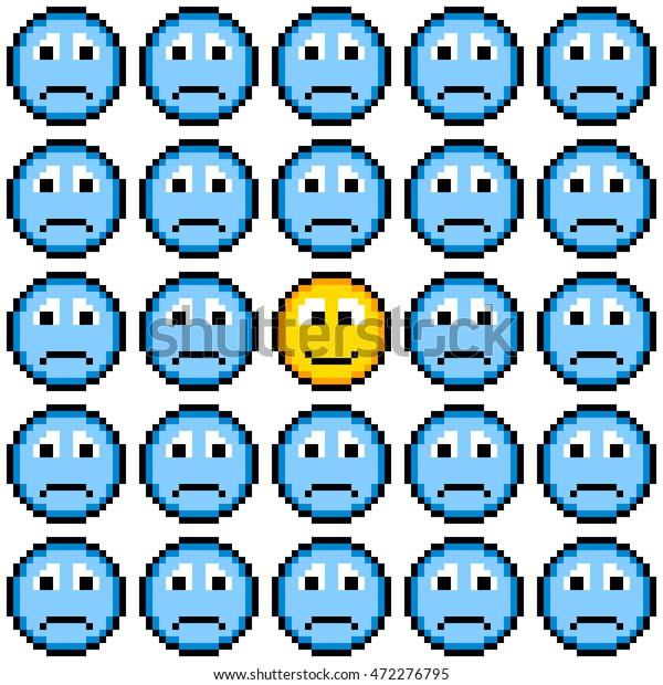 8-bit Pixel Art Sad Faces and One Happy Face Emoji