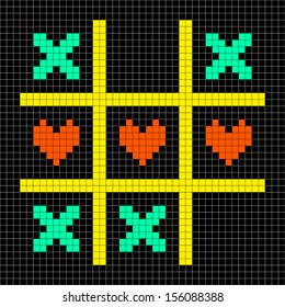8-bit Pixel Art Tic Tac Toe Game With Kisses and Love Heart Symbols