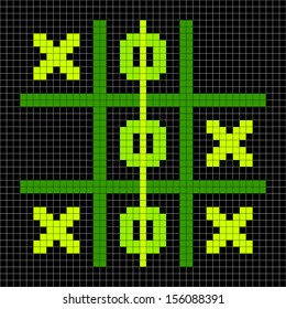 8-bit Pixel Art Tic Tac Toe Game in a Winning Position