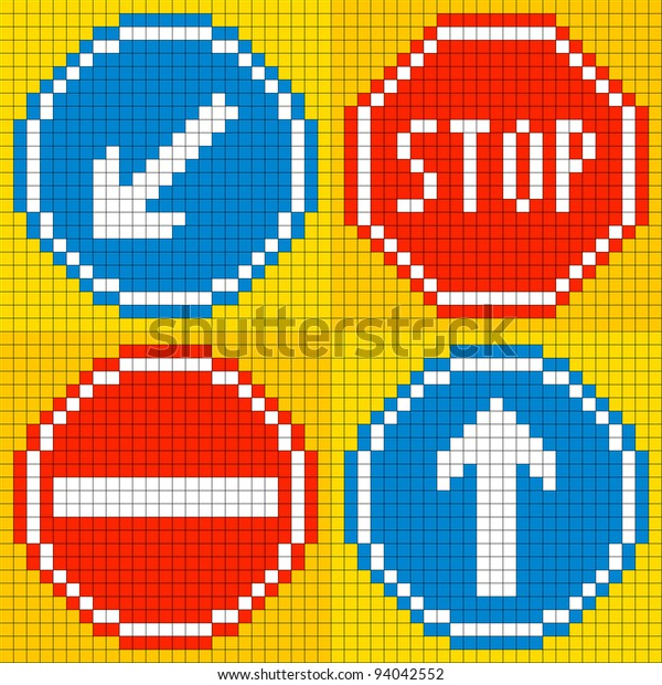 8-bit Pixel Art Vector Road Sign Icons