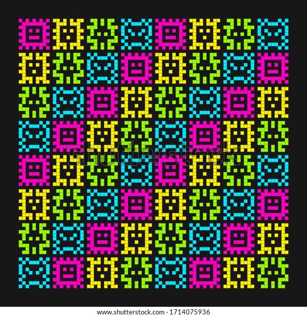 8-bit Pixel Art Viruses Charaters