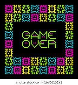 Virus Pixel de arte de 8 bits con juego sobre mensaje. Vector EPS8