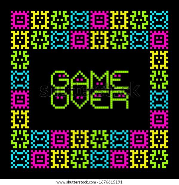 8-bit Pixel Art Viruses With Game Over Message. EPS8 Vector