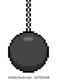 8-bit pixel art wrecking ball on a chain