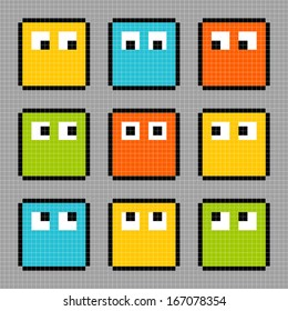 8-bit pixel characters looking in different directions.