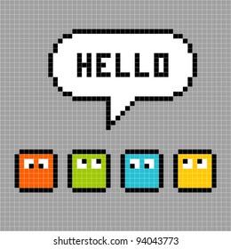 8-bit Pixel Characters Say Hello