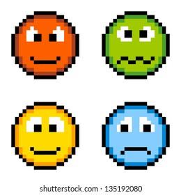 8-bit pixel emoji icons: angry, sick, happy, sad