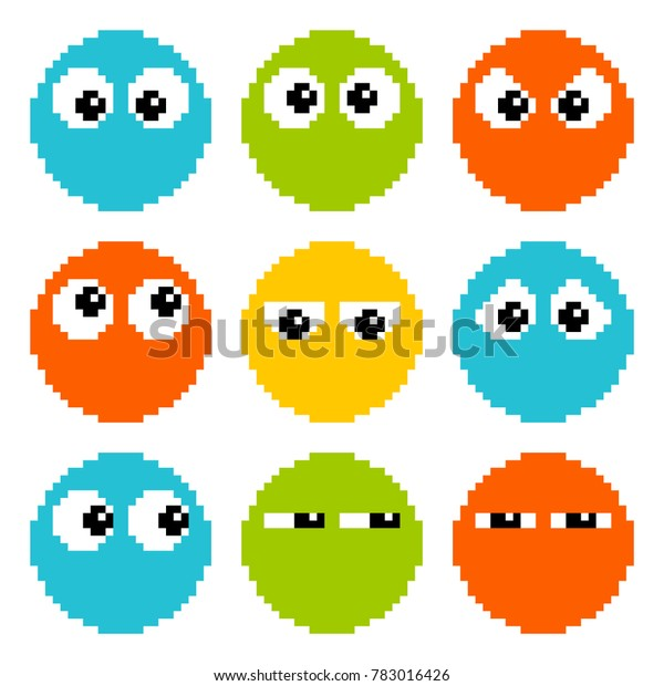 8-bit Pixel Eyes on Circle Characters