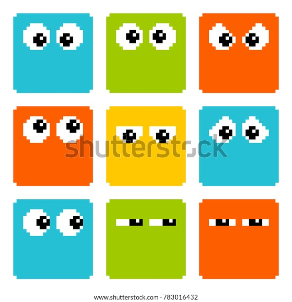 8-bit Pixel Eyes on Square Characters