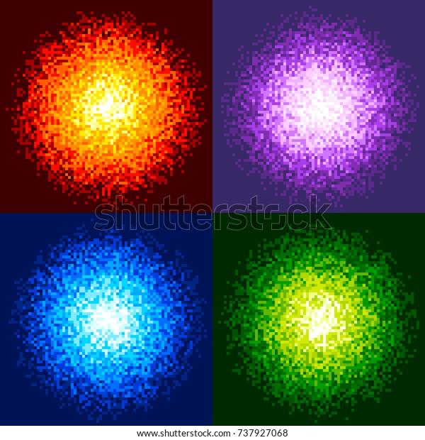 8-Bit Pixel Fireball Vector. Red, Purple, Blue and Green