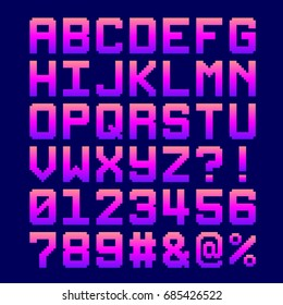 8-Bit Pixel Font - Letter and Numbers in a Pink Gradient. EPS8 Vector