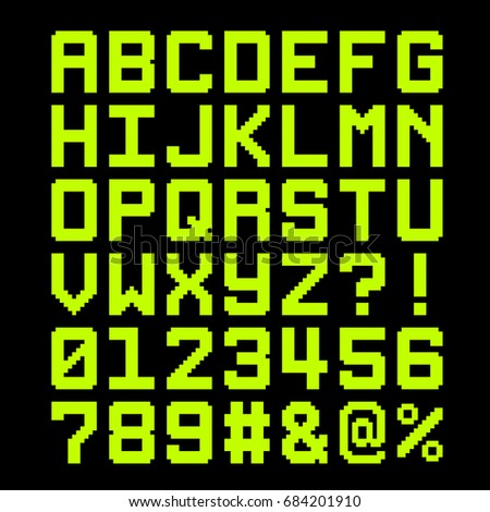 8-Bit Pixel Font - Letter and Numbers. EPS8 Vector