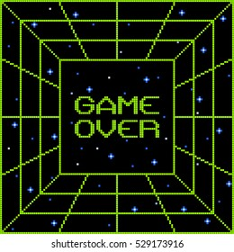 8-Bit Pixel Game Over Vortex
