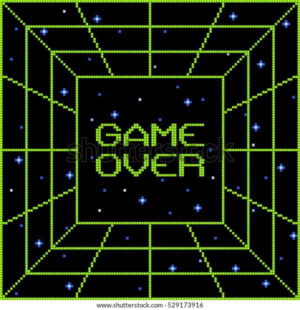 8-Bit Pixel Game Over Vortex