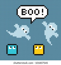 "8-bit Pixel Ghosts Say ""Boo!"""