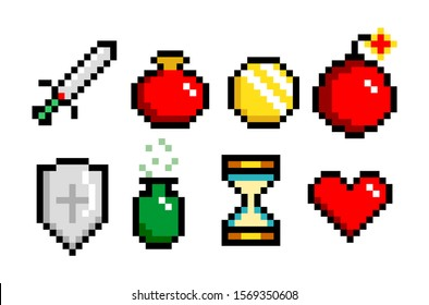 8-bit pixel graphics icon set. potion, sword coin and heart. Game assets. Isolated vector illustration.