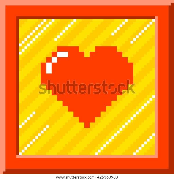 8-Bit Pixel Heart Inside Picture Frame. EPS8 Vector