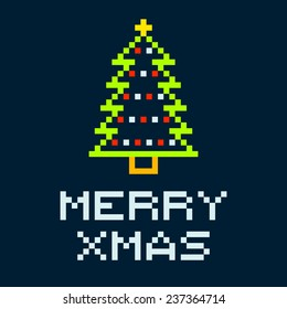 8-bit Pixel Merry Xmas Christmas Tree