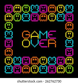 8-Bit Pixel Retro Arcade Game Over. EPS8 Vector