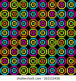 8-Bit Pixel Retro Circles Pattern. EPS8 Vector
