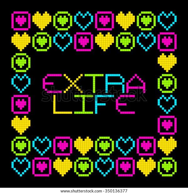 8-Bit Pixel Retro Extra Life Message. EPS8 Vector