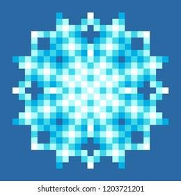 8-Bit Pixel Snowflake. EPS8 Vector
