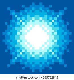 8-Bit Pixel-art Blue Arcade Fireball Explosion. EPS8 vector