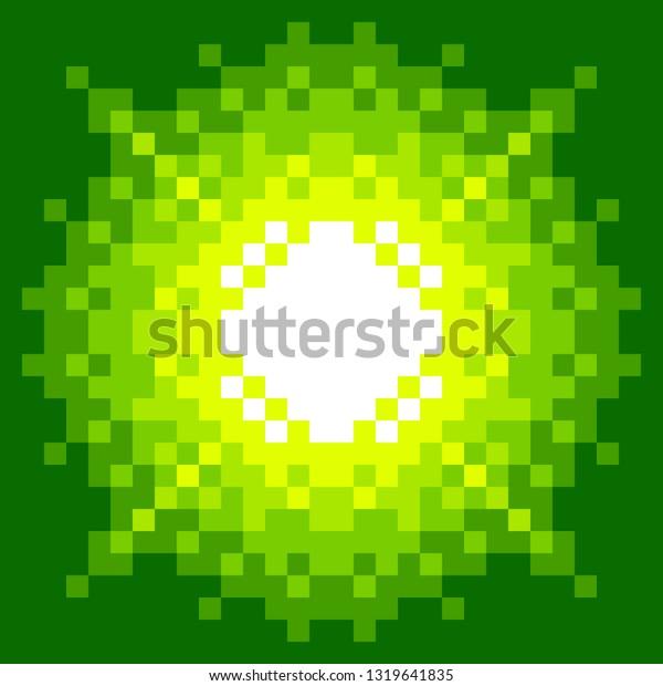 8-Bit Pixel-art Explosion on a Green Background. EPS8 vector