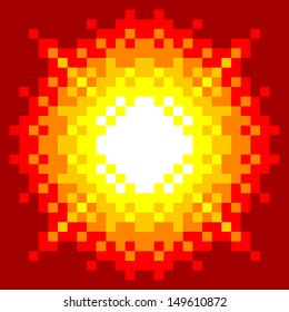 8-Bit Pixel-art Fireball Explosion on a Red Background