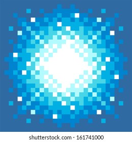 8-Bit Pixel-art Fireball Explosion on a Blue Background