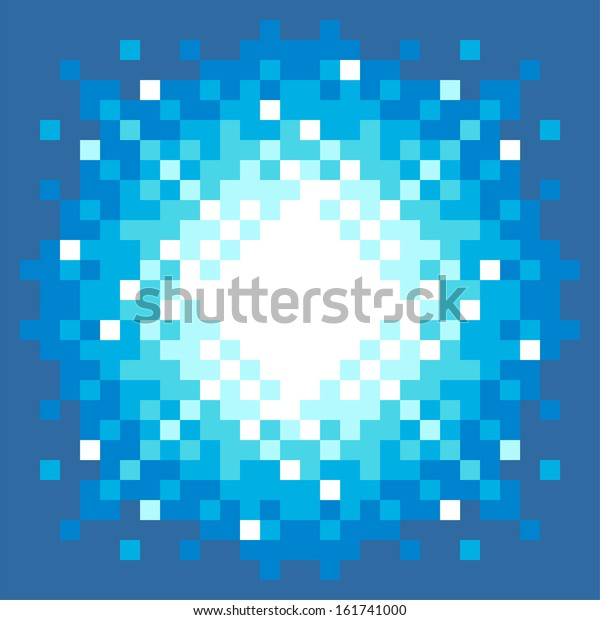 8-Bit Pixel-art Fireball Explosion on a Blue Background