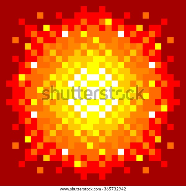8-Bit Pixel-art Fireball Explosion on a Red Background. EPS8 vector