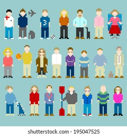 8-bit Pixel-art People From a Web Design Agency Office