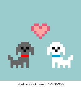 8-bit Pixel-art Poodles Puppies Falling in Love