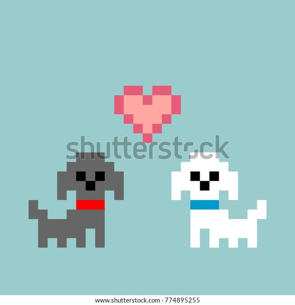 8-bit Pixel-art Poodles Puppies Falling in Love