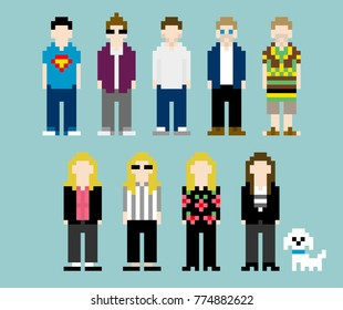 8-bit Pixel-art Work Team