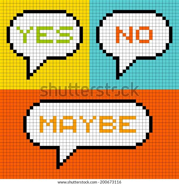 """8-bit Pixel-Art """"Yes, No, Maybe"""" Speech Bubbles"""