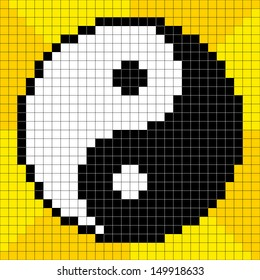 8-bit Pixel-art Yin Yang Symbol on a Yellow Background