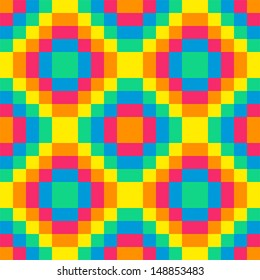 8-bit seamless rainbow diamond background tile using pink, orange, yellow, green and blue