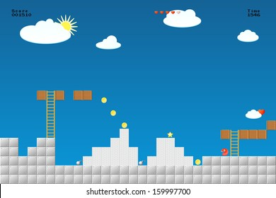8-bit video game location, arcade games, star,, bomb, coin, stairs