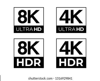 8K and 4K Ultra HD & HDR Logo Vector Set
