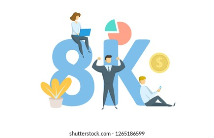 8K likes, followers online social media banner. Concept with keywords, letters, and icons. Colored flat vector illustration. Isolated on white background.
