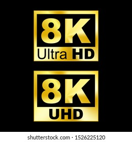 8K resolution icon. Graphic template. Vector