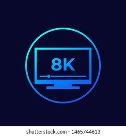 8K tv vector icon with gradient