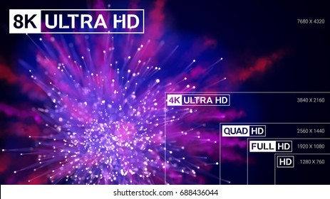 8K Ultra HD, 4K UHD, Quad HD, Full HD and HD resolution presentation scale frame with abstract color powder background. Vector illustration with TV symbols and icons.
